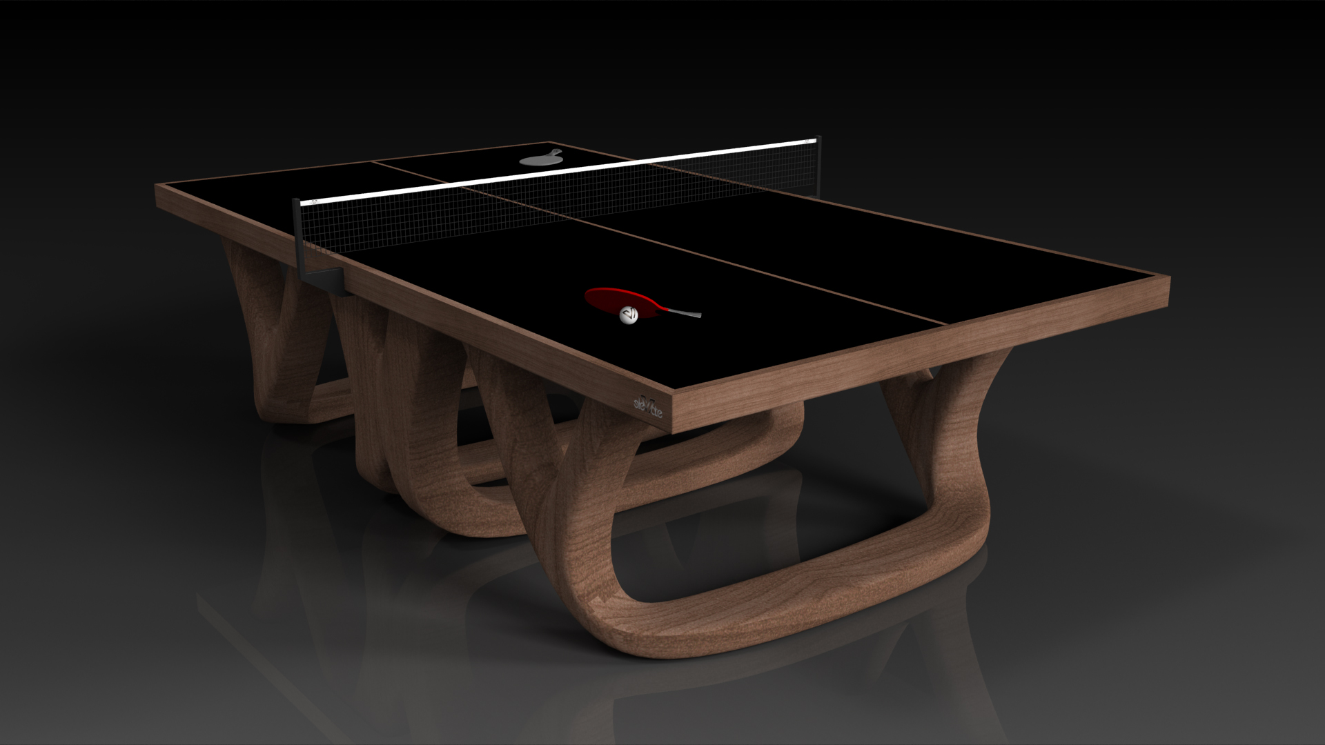 Elevate customs modern design draco Ping Pong Table tennis walnut 4