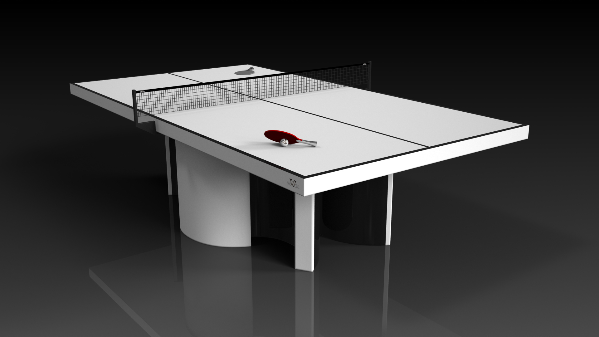 white ping pong table