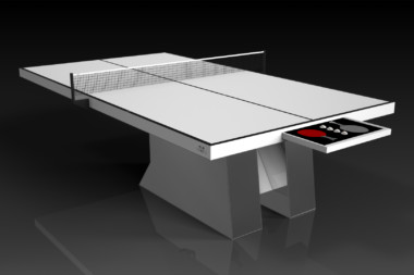Elevate Customs modern design stilt Ping Pong Table tennis chrome and white 1