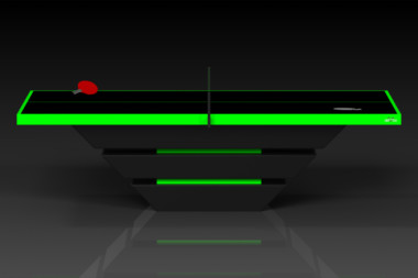 Elevate customs modern design louve Ping Pong Table tennis black and neon green 2