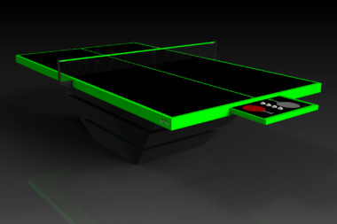 Elevate customs modern design louve Ping Pong Table tennis black and neon green 1