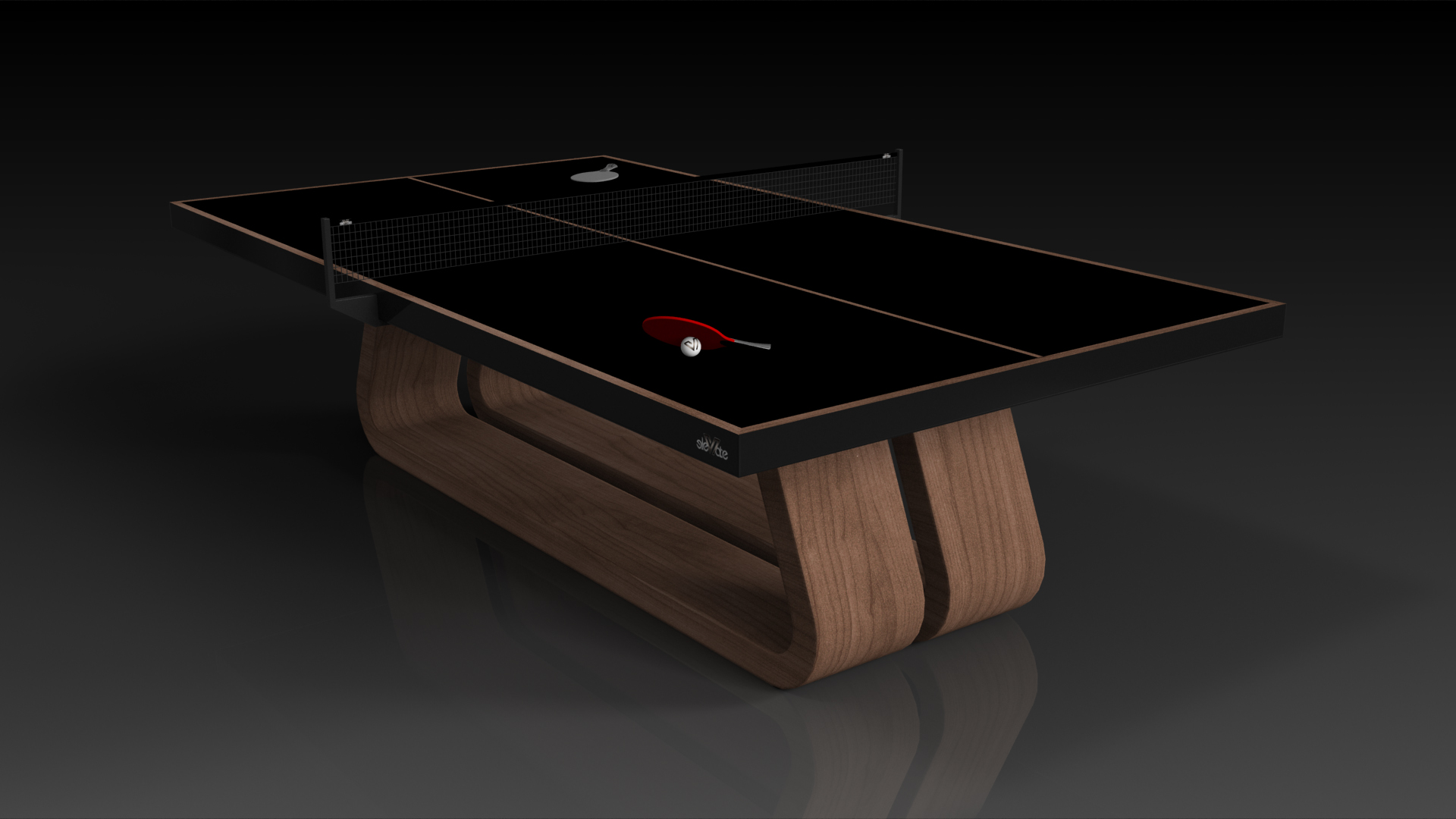 Elevate Customs Modern design Luge Ping Pong Table tennis walnut 4