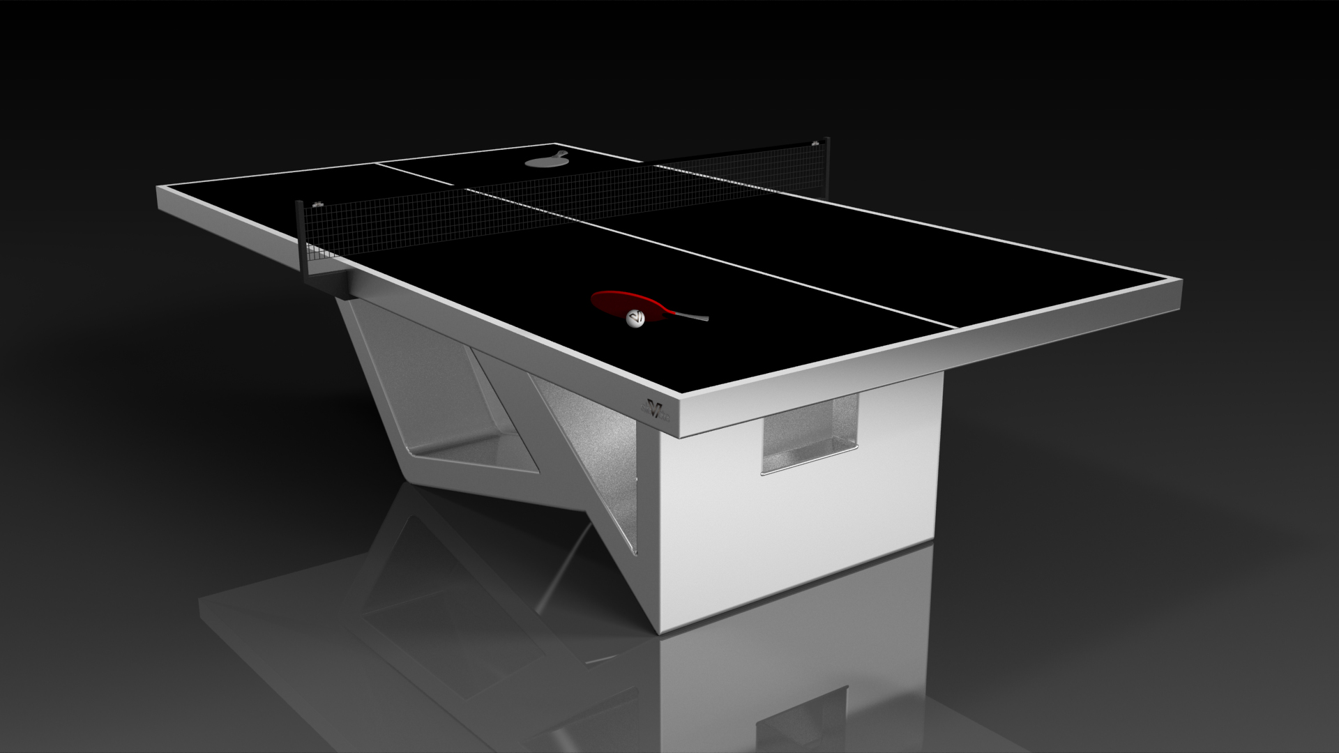 Elevate Customs modern design rumba Ping Pong Table tennis brushed aluminum 4