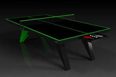 Elevate Customs Modern design Mantis Ping Pong Table tennis black and neon green 1