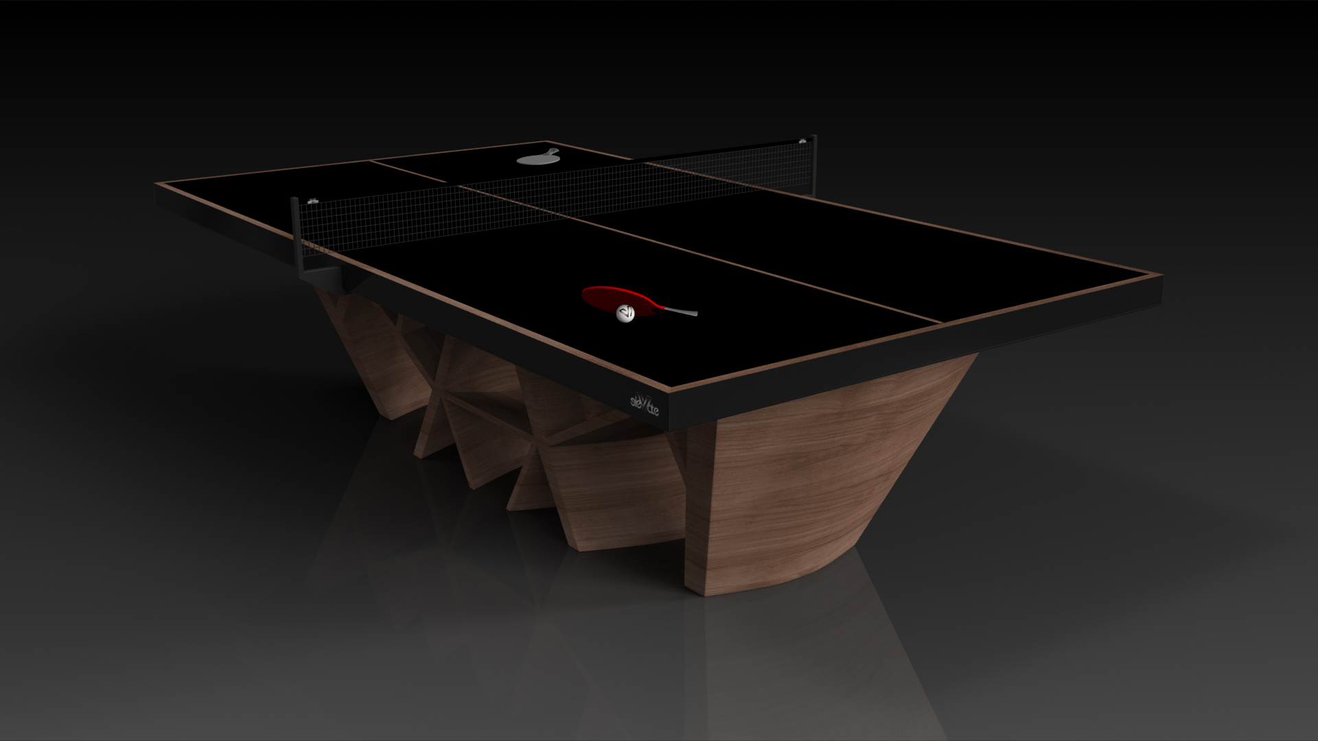 Elevate Customs Modern design maze Ping Pong Table tennis walnut 4