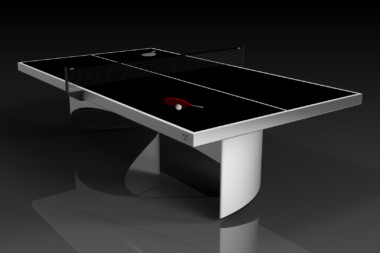 Elevate customs modern design ellipse Ping Pong Table tennis brushed aluminum 4