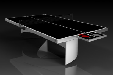 Elevate customs modern design ellipse Ping Pong Table tennis brushed aluminum 1