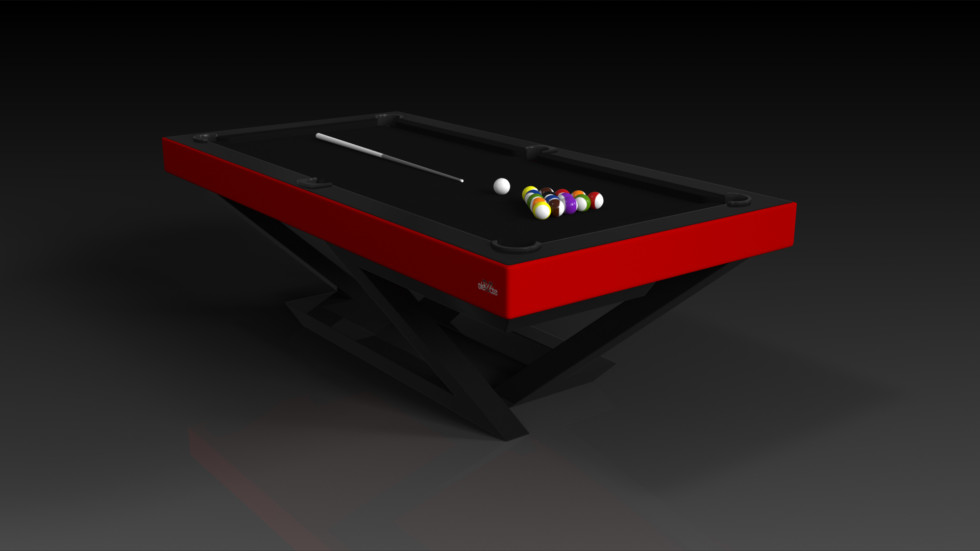 Elevate Customs modern design trinity pool table Black and red 4