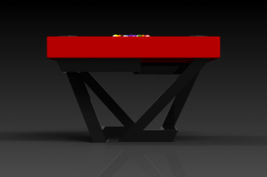 Elevate Customs modern design trinity pool table Black and red 3