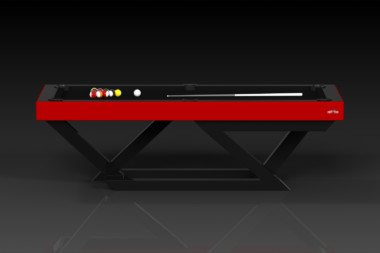Elevate Customs modern design trinity pool table Black and red 2