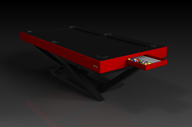 Elevate Customs modern design trinity pool table Black and red 1