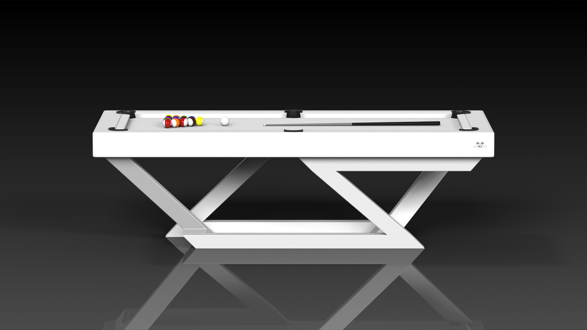 Elevate Customs modern design trinity pool table white 2