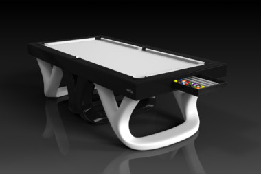 Elevate customs modern design draco pool table black and white 1