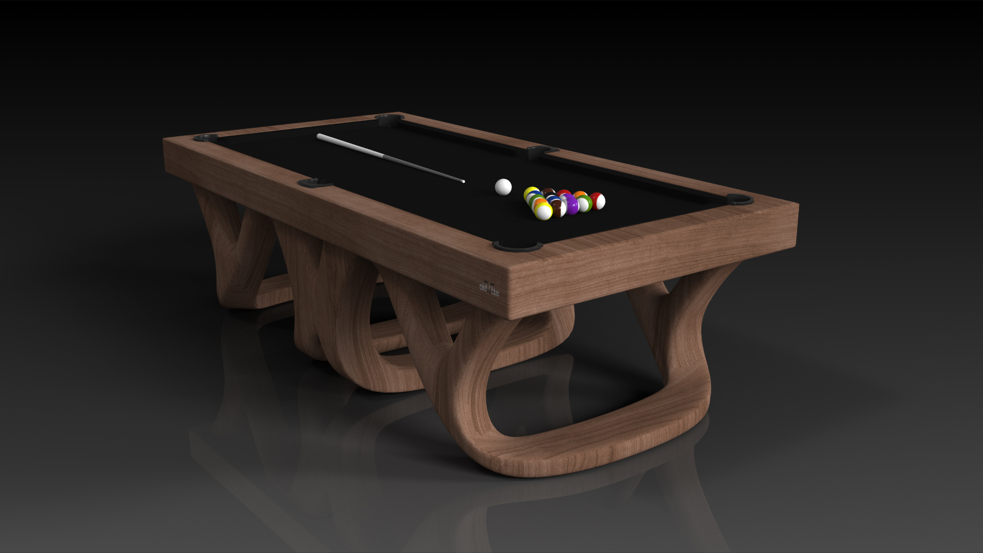 Elevate Customs Modern design Draco pool table walnut 4