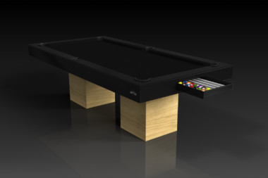 Elevate Customs modern design trestle pool table bamboo 1