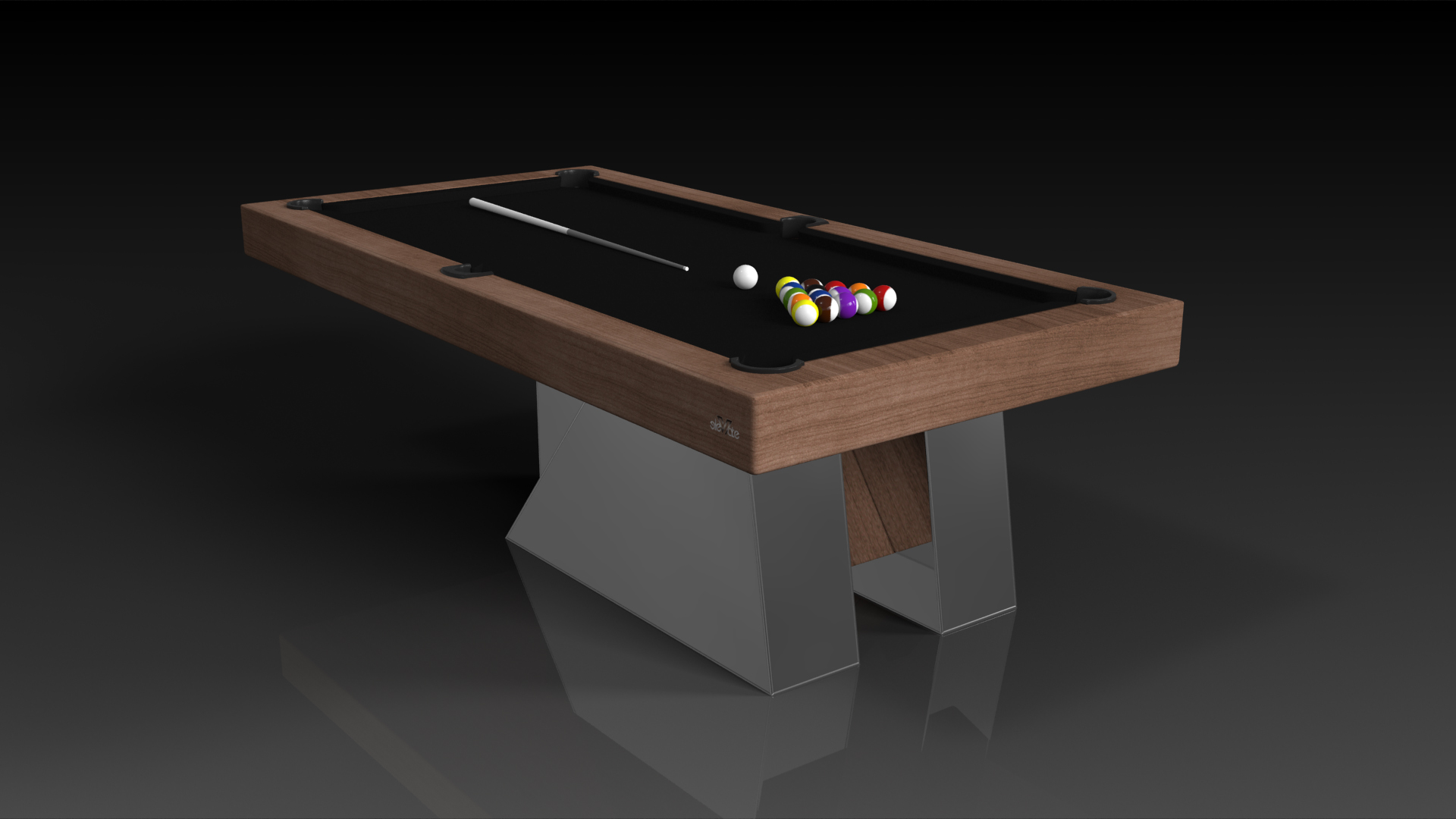 Elevate Customs modern design stilt pool table walnut 4