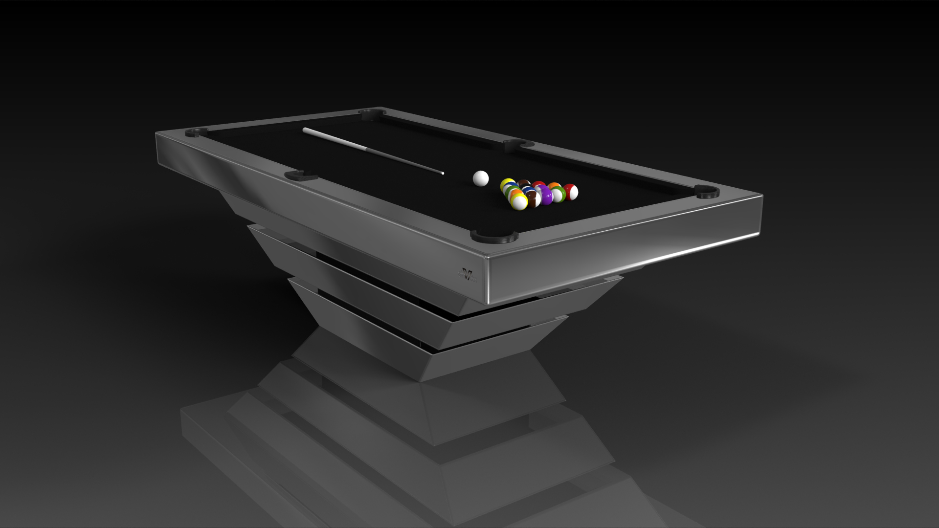 Elevate customs modern design louve pool table chrome 4