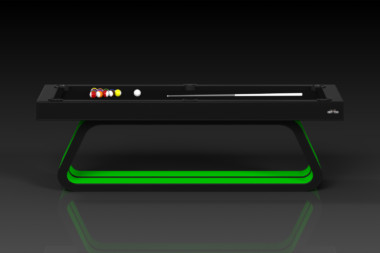 Elevate Customs Modern design Luge pool table black and neon green 2