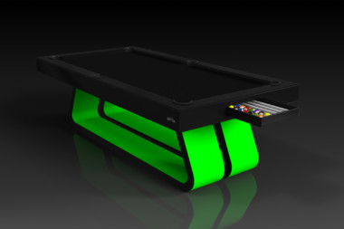 Elevate Customs Modern design Luge pool table black and neon green 1