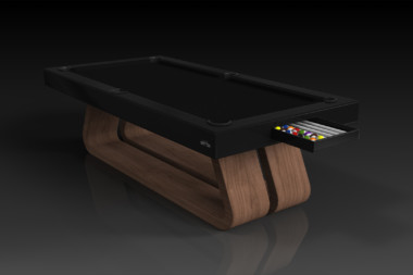 Elevate Customs Modern design Luge pool table walnut 1