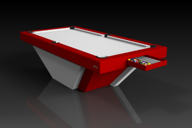 Elevate Customs modern design vogue pool table white and red 1