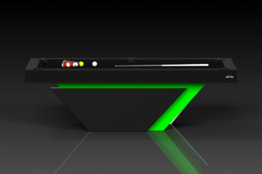 Elevate Customs modern design vogue pool table black and neon green 2
