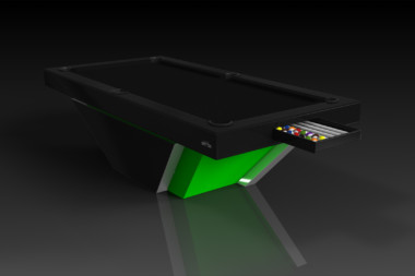 Elevate Customs modern design vogue pool table black and neon green 1