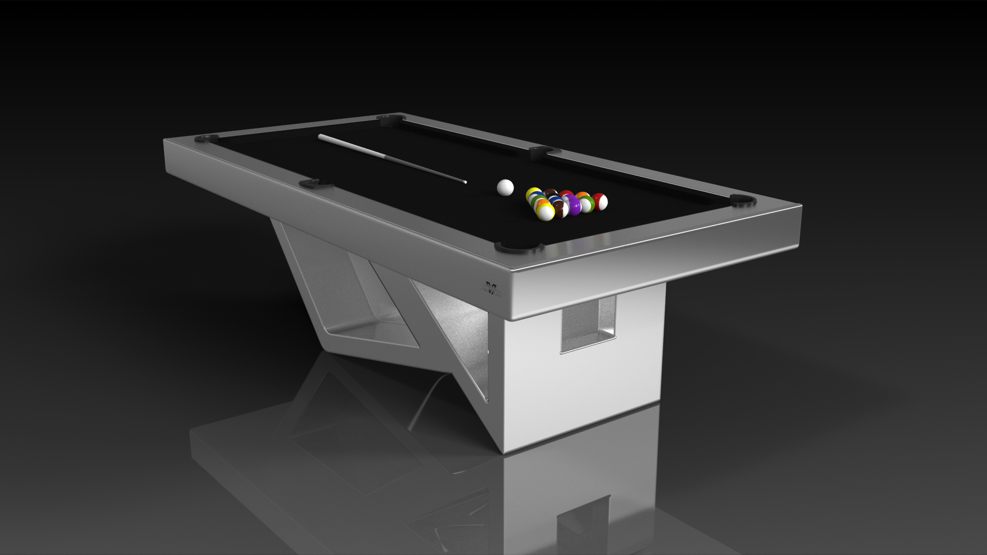 Elevate Customs modern design rumba pool table brushed aluminum 4