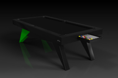 Elevate Customs Modern design Mantis pool table black and neon green 1
