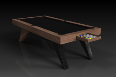 Elevate Customs Modern design Mantis pool table walnut 1