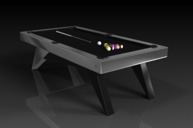 Elevate Customs Modern design Mantis pool table brushed aluminum 4