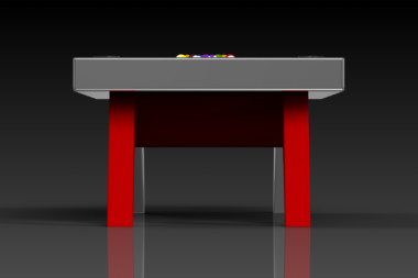 Elevate Customs Modern design Mantis pool table chrome and red 3