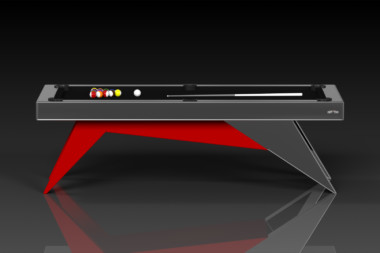 Elevate Customs Modern design Mantis pool table chrome and red 2