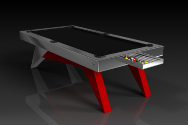 Elevate Customs Modern design Mantis pool table chrome and red 1