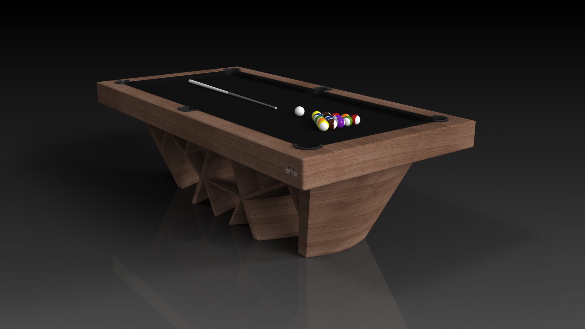 Elevate Customs Modern design maze pool table walnut 4