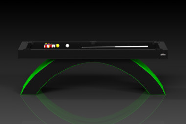 Elevate Customs modern design zenith pool table black and neon green 2