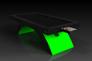 Elevate Customs modern design zenith pool table black and neon green 1