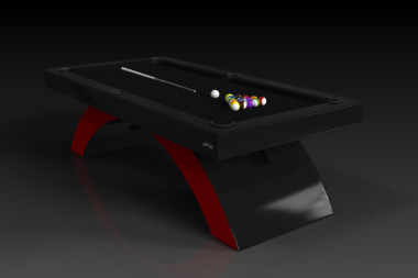 Elevate Customs modern design zenith pool table black and red 4