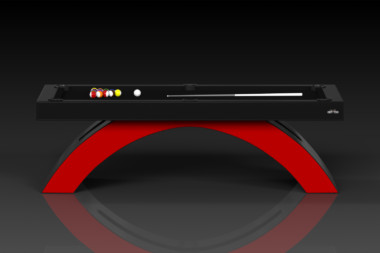 Elevate Customs modern design zenith pool table black and red 2