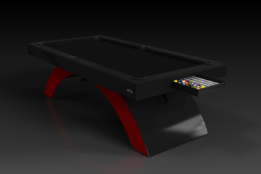 Elevate Customs modern design zenith pool table black and red 1