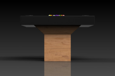 Elevate Customs modern design trestle pool table teak 3