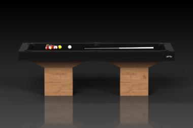 Elevate Customs modern design trestle pool table teak 2