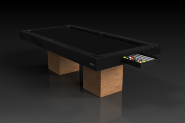 Elevate Customs modern design trestle pool table teak 1