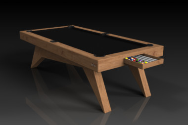 Elevate Customs Modern design Mantis pool table teak 1