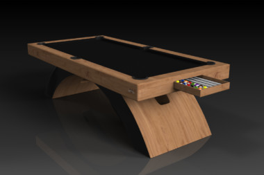 Elevate Customs modern design zenith pool table teak 1
