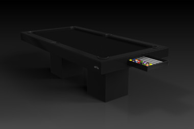 Elevate Customs modern design trestle pool table black 1