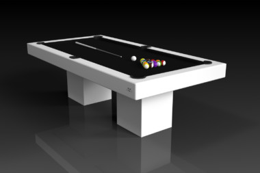 Elevate Customs modern design trestle pool table white 4