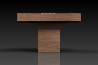 Elevate Customs modern design trestle pool table walnut 3