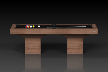 Elevate Customs modern design trestle pool table walnut 2