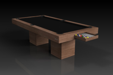 Elevate Customs modern design trestle pool table walnut 1